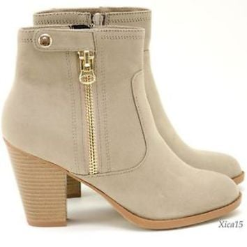 Women's New Ankle Boots Zip Up Chunky Heel Faux Suede Almond Toe Booties