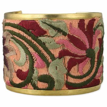 Soft Pink and Sage Hand-Embroidered Elegant Cuff Bracelet   Handmade in India