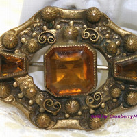 Victorian Revival Brooch, Topaz Brown Rhinestone Pin, Antiqued Gold Jewellery, Scroll & Ball Design, Vintage Fashion Costume Jewelry J1515