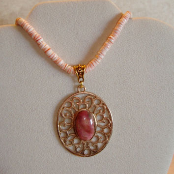 Hand Cast Bronze Pendant with Natural Pink Gemstone Rhodochrosite Setting - Statement Pendant Design - Healing Power of Gemstones -