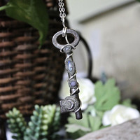 Vintage Skeleton Key Necklace w/ Opal, Moonstone & Grape Agate, Crescent Moon Jewelry, Pagan Style, Wiccan Pendant, Talisman, Amulet, Wicca