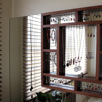 Wall mounted Jewellery Organiser (Large)- Stained timber frame with polished silver hooks for earrings, bracelets necklaces, rings & watches