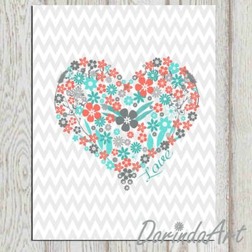 Heart print 5x7 8x10 Printable floral heart INSTANT DOWNLOAD Nursery wall decor Coral turquoise gray Flower art Gray Chevron Love printable