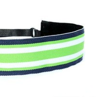 Wide Navy and Lime Stripe Headband