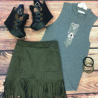 Fringe Frenzy Skirt: Olive