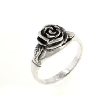 Small Sterling Silver Detailed Rose Flower Ring Size 3(Sizes 3,4,5,6,7,8,9,10,11,12)