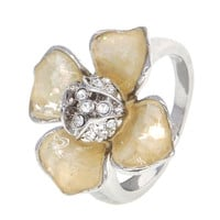 Dear Deer White Gold Plated Floral Shell CZ Cocktail Ring