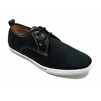 Men's 30179 Moccasin 2-Eye Lace Up Casual Sneaker Shoes BLACK