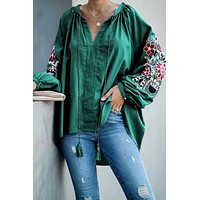 Green Relaxing Fit Embroidered Peasant Top