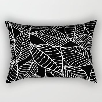 Leaves in white Rectangular Pillow by juliagrifoldesigns