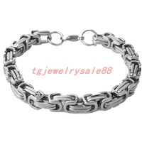 "High Polishing Silver Stainless Steel Byzantine Box Link Chain Bracelets Bangles Biker Mens Fashion Jewelry 7-11"" Option 4/5/8mm"