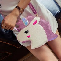 Unicorn Purse Hand Bag in a Cute Head Design in Pink or Blue Color with Matching Shoulder Strap