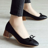 2018 Womens Pumps Shoes Low Chunky Heel Dress Shoes Office Lady Style Shoes Autumn Fashion Lolita Style Bowknot Deco Plus Size33