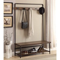 Industrial Inspired Pipe Designed Hall Tree with Built in Bench, Brown and Bronze
