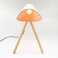 Hand made leather top wood table lamp (Nude).
