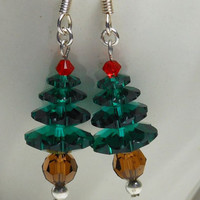Swarovski Crystal Christmas Tree Earrings Perfect addition to your Holiday Earring Collection