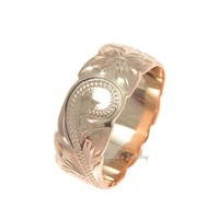 8MM PINK ROSE GOLD SILVER 925 HAWAIIAN RING PLUMERIA FLOWER SCROLL CUT OUT EDGE