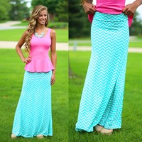 Simply Chevron Maxi Skirt in Mint
