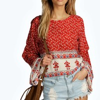 Grace Red Paisley Print Wide Sleeve Top