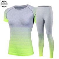 Brand New Women's tracksuits Yoga Sets Breathable Sport Suit Fitness Gym Running Set Yoga Shirt Top Pants Green Yoga For Girls