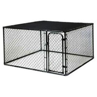 10 ft. x 5 ft. x 6 ft. Black Powder-Coated Chain Link Boxed Kennel Kit K6510CLBL/C at The Home Depot - Mobile