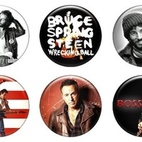 """Set of 6 New Bruce Springsteen 1.25"""" Pinback Button Badge Pin"""