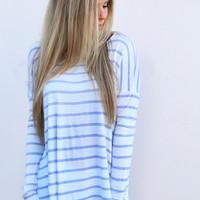 Change The World Striped Top {White + Blue}