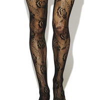 Floral Open-Knit Tights | Wet Seal