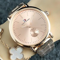 Tommy New fashion dial letter print couple watch