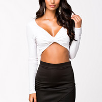 TWIST FRONT SLEEVE TOP - White Crop top with long sleeves by ONENESS