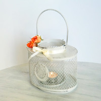 Grungy Gray - Winter Home and Christmas Wedding Decor - Lantern - Painted Candle Holder