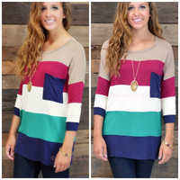 SZ LARGE Castle Harbor Navy & Green Colorblock Pocket Tunic