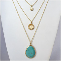 Turquoise Crystal Wave Layered Necklace