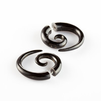 "Fake Gauge Earrings - Horn Spiral Earrings Fake Piercing - Horn Earrings ""Spiral Push Backs 6mm"""