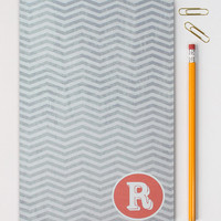 Monogram Notebook Personalized Custom Initial Journal Grey Coral Chevron Note Book Travel Journal Notepad School Supplies Graduation Gift
