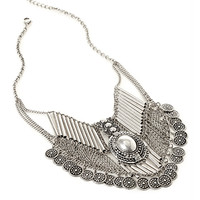 FOREVER 21 Coin Fringe Statement Necklace Burn.S One