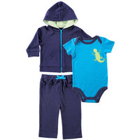 Yoga Sprout Hoodie, Bodysuit, and Pants Set, Lizard | Affordable Infant Clothing
