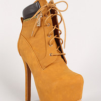 Two-Tone Zipper Lace Up Platform Work Boot