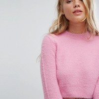 Bershka Cropped Fluffy Knitted Jumper at asos.com