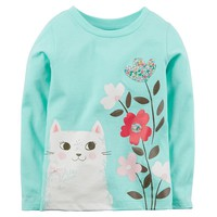 Carter's Cat Flower Graphic Tee - Baby Girl, Size:
