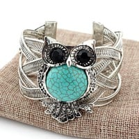 Vintage Owl Silver Bracelets with Turquoise Stone Wide Bracelet Bangle for Women Jewelry
