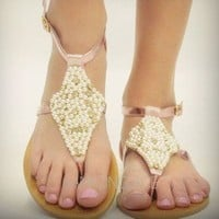 Pink Pearls Strappy Ankle Sandals Shiny Metallic Foil Cluster Pretty Fashion
