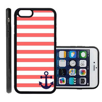 RCGrafix Brand Coral And White Stripes Blue Anchor Sailor Sea Life Apple Iphone 6 Plus Protective Cell Phone Case Cover - Fits Apple Iphone 6 Plus