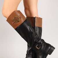 Two-Tone Round Toe Knee High Boot