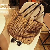 Woven Handmade Knitted Straw Large Capacity Tote Beach Bag