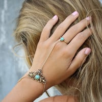 Empire By The Sea Turquoise Ring-To-Wrist Bracelet