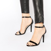 Glamorous Black Patent Two Part Heeled Sandals