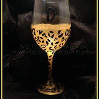 Cheetah Print hand Painted WIne Glass Personalized