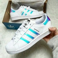 Adidas Fashion Reflective Shell-toe Flats Sneakers Sport Shoes Blue laser-3