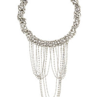 Grey BCBG Chain and Stone Cluster Necklace